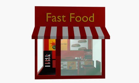 Fast food restaurant in front isolated on white. 3d rendering Standard-Bild