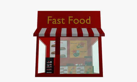 Fast food restaurant isolated on white. 3d rendering