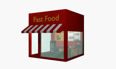 Fast food snack from left side view isolated on white. 3d rendering