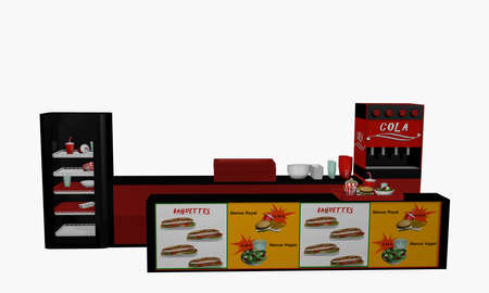 Fast food bar in front isolated on white. 3d rendering Standard-Bild