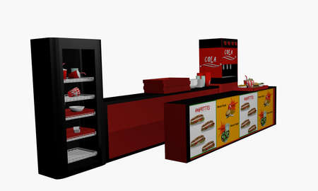 Fast food counter in side view isolated on white. 3d rendering