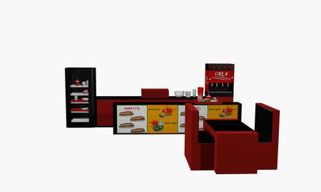 Fast food establishment in front isolated on white. 3d rendering