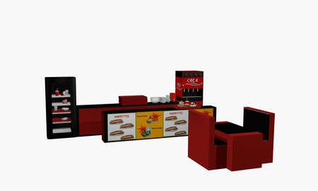 Fast food establishment in side view isolated on white. 3d rendering Standard-Bild