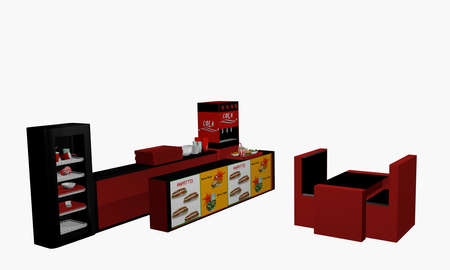 Fast food set isolated on white. 3d rendering