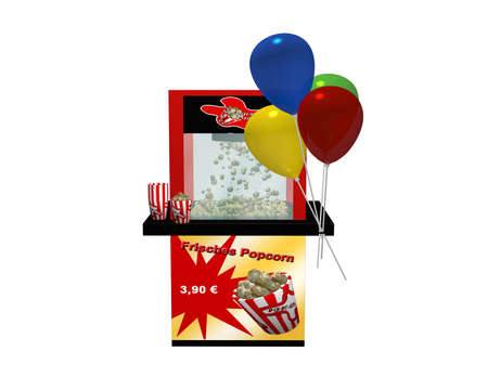 Popcorn machine with german text fresh popcorn and balloons isolated on white. 3d rendering