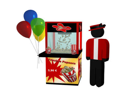 Popcorn machine with german text fresh popcorn, balloons and a seller isolated on white. 3d rendering