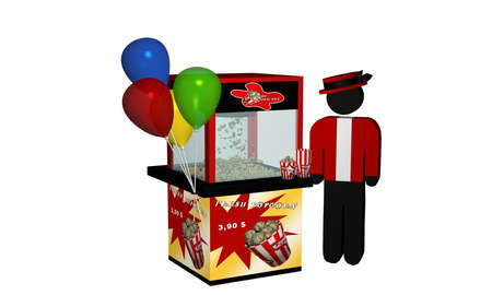 Popcorn machine with fresh popcorn and balloons and seller. 3d Rendering