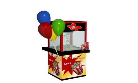 Popcorn machine with fresh popcorn and balloons. 3d rendering