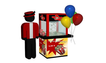 Popcorn machine with fresh popcorn and balloons and seller isolated on white. 3d rendering