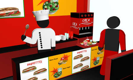 Fast food snack from the inside, with cook, customer and menu. 3d rendering