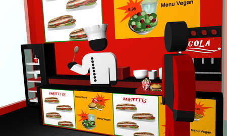 Fast food snack from the inside, with a cook. 3d rendering Standard-Bild
