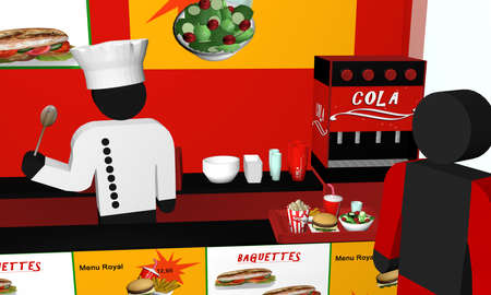 Fast food snack from the inside, with figures in close-up. 3d rendering
