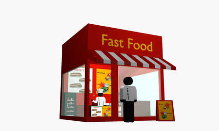 Fast food snack with figure at the entrance and cook inside. 3d rendering