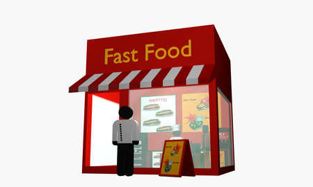 Fast food snack with figure at the entrance. 3d rendering Standard-Bild