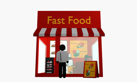 Fast food snack with figures. front view. 3d rendering Standard-Bild