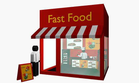 Fast food snack with figures. 3d rendering