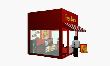 Fast food snack with figure at the entrance and cook inside. From side view. 3d rendering