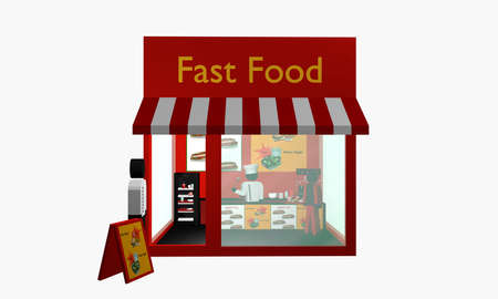 Fast food snack with figures. Front view. 3d rendering