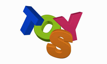 Toys in colorful letters. 3d rendering