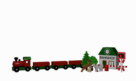 Wooden toys for a railroad with text station in German. 3d rendering