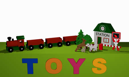 Wooden toys for a railway on a green table and the text Toys. 3d rendering