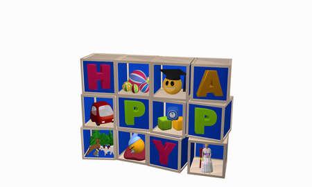 Würfelkasten gemacht von den Würfeln mit Spielwaren und dem Wort glücklich. 3D-Rendering Standard-Bild