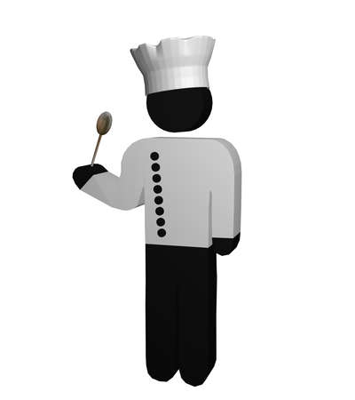 Figure of a chef in red and white with chefs jacket, chefs hat and wooden spoon. 3d rendering
