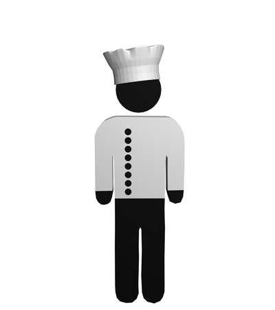 Figure of a chef in red and white with chefs jacket and chefs hat. 3d rendering Standard-Bild