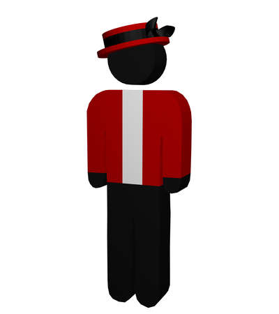Figurine with hat isolated on white. 3d rendering