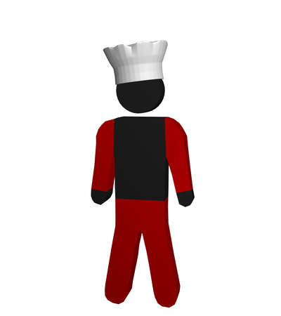 Figure of a chef in red and white with chefs hat. 3d rendering Standard-Bild