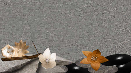 Stones with flowers and incense sticks.