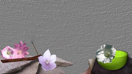 Gebrochene Steine ??mit Blumen und Räucherstäbchen zu einer grünen Schüssel mit einer Winde auf einem Stapel von Tüchern