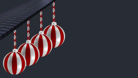 Image Background with red and white striped balls hanging on a wooden board. 3d rendering