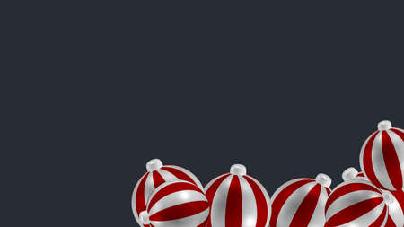 Image background with red and white striped balls. 3d rendering