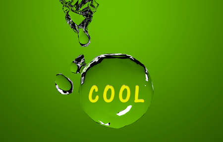 The text Cool on a green water globe. 3d rendering Standard-Bild