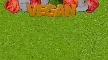 Gemüse mit gelbem Text Vegan
