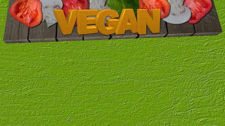 Gemüse mit dem Text Vegan auf einem hölzernen Brett Standard-Bild