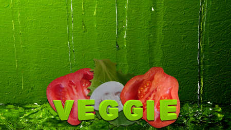 Vegetables with the text Veggie in front of water. 3d illustration