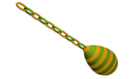 green-yellow striped decorative egg that hangs on a chain. 3d rendering isolated on white Standard-Bild