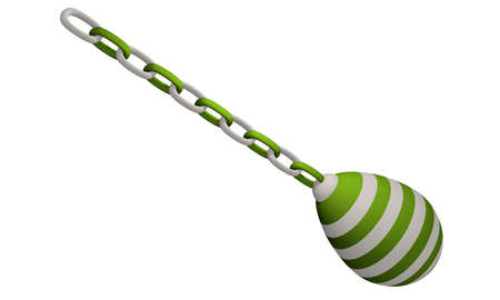 green and white striped decorative egg hanging from a chain. 3d rendering isolated on white