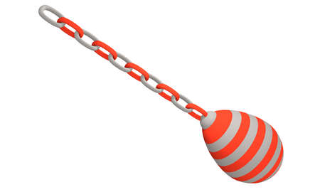 red and white striped decorative egg hanging from a chain. 3d rendering isolated on white Standard-Bild