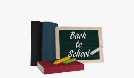 Slate with the text Back to School, books and colorful chalk. 3d rendering