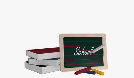 Slate with the text School, a stack of books and colorful chalk. 3d rendering