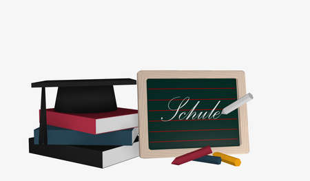 Slate with the text School in German and a stack of books on which a highshool hat lies. 3d rendering
