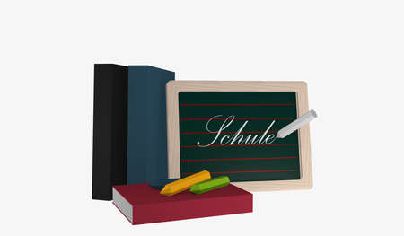 Slate with the text school in german, books and colorful chalk. 3d rendering Standard-Bild
