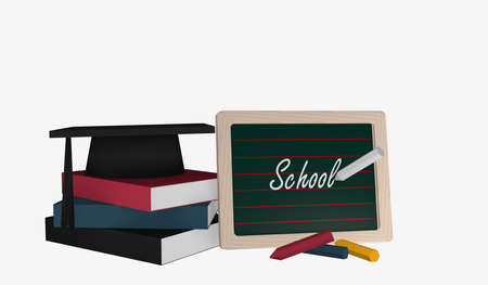Slate with the text School and a stack of books on which a highshool hat lies. 3d rendering
