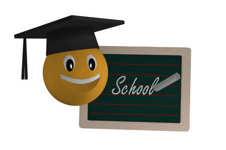 Slate with the text School in German and an Emoticon with Highshool-Hat. 3d rendering