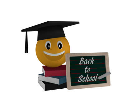 Slate with the text Back to School, a stack of books and an emoticon with a highshool hat. 3d rendering