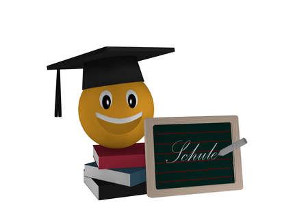 Schiefer mit der Textschule auf Deutsch, ein Stapel Bücher und ein Emoticon mit highshool Hut. 3D-Rendering Standard-Bild