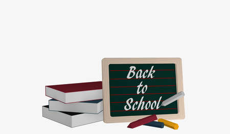 Slate with the text Back to School, a stack of books and colorful chalk. 3d rendering